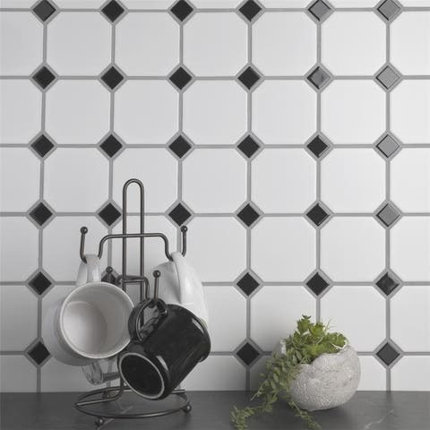 SomerTile 11.5x11.5-inch Victorian Octagon White and Black Porcelain Mosaic Floor and Wall Tile (10 tiles/9.38 sqft.)