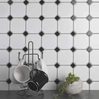 SomerTile 11.5x11.5-inch Victorian Octagon White and Black Porcelain Mosaic Floor and Wall Tile (10 tiles/9.2 sqft.)