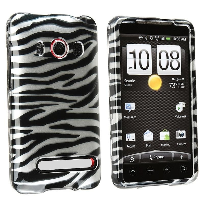 Silver and Black Zebra Snap-on Plastic Case for HTC EVO 4G