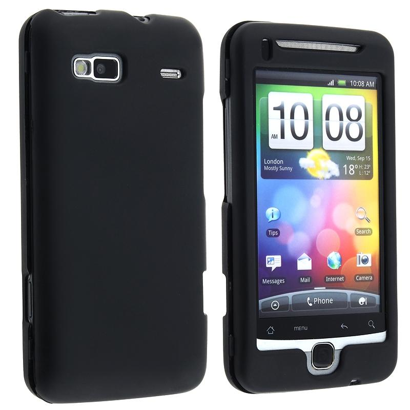 INSTEN Black Snap-on Rubber Coated Phone Case Cover for HTC / T-Mobile G2