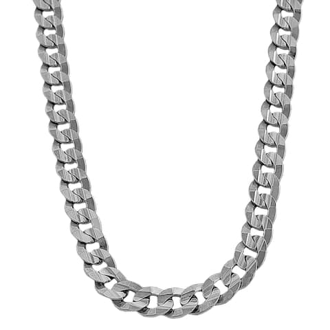 Fremada 14k White Gold Men's Solid 9.7mm Curb Link Chain (24-inch)