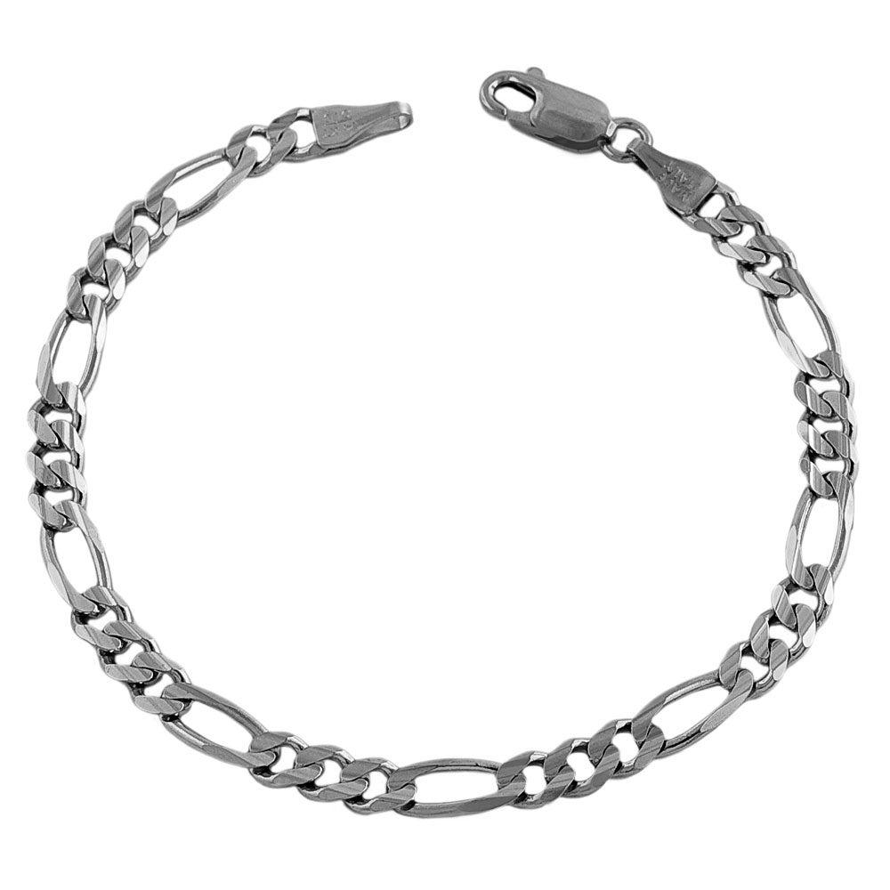 Fremada 14k White Gold 7.5-inch Figaro Bracelet