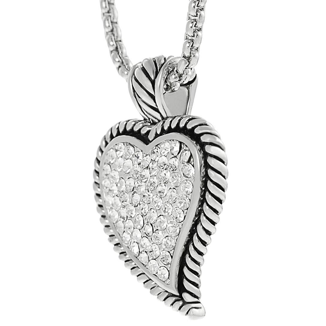 Journee Collection Silvertone Pave-set CZ Heart Necklace