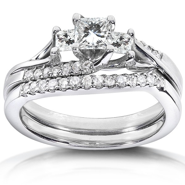 Annello by Kobelli 14k White Gold 3/4ct TDW Diamond Bridal Ring Set