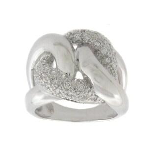 Finesque Silvertone Diamond Accent Chain Link Ring