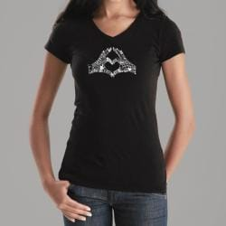Los Angeles Pop Art Women's Black Heart Fingers V-Neck Top