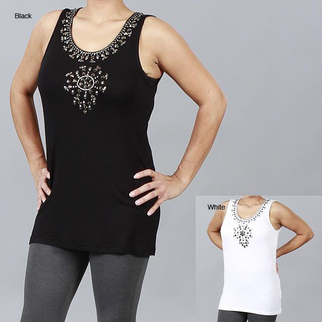 Metric Sleeveless Top with Medallion Pattern