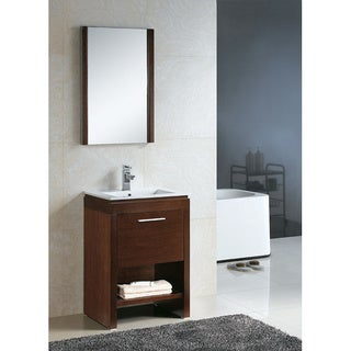 Fine Fixtures Modena Wenge and White Ceramic/ Wood Vanity