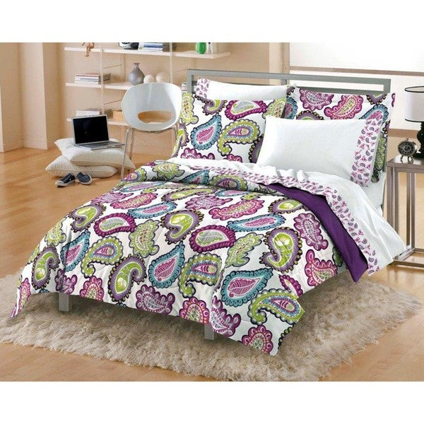 Graphic Paisley 5-piece Twin-size Microfiber Bed in a Bag with Sheet Set