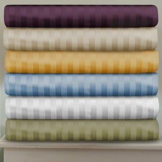 Superior 400 Thread Count Deep Pocket Stripe Cotton Sateen Bed Sheet Set