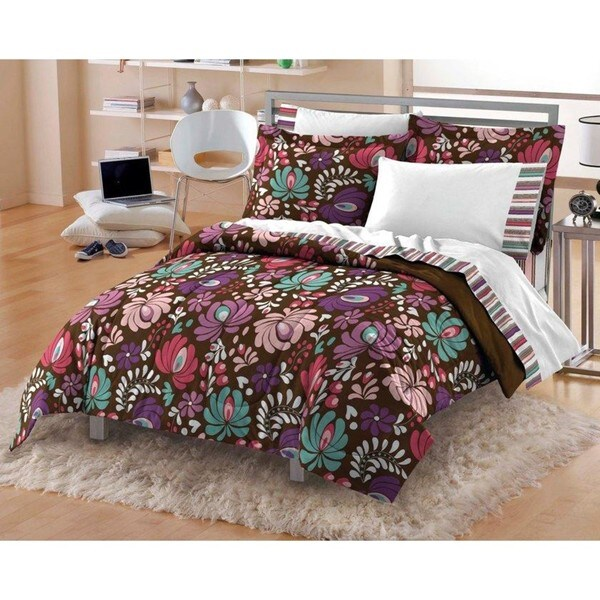 Vintage Blossom 7-piece Queen-size Microfiber Bed in a Bag with Sheet Set