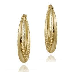 Mondevio 18k Gold over Stainless Steel Textured Design Hoop Earrings