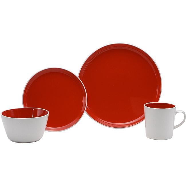 Oneida Color Burst Very Cherry 16-piece Dinnerware Set