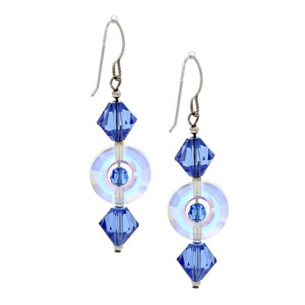 MSDjCASANOVA Argentium Silver Sapphire Circle Crystal Earrings