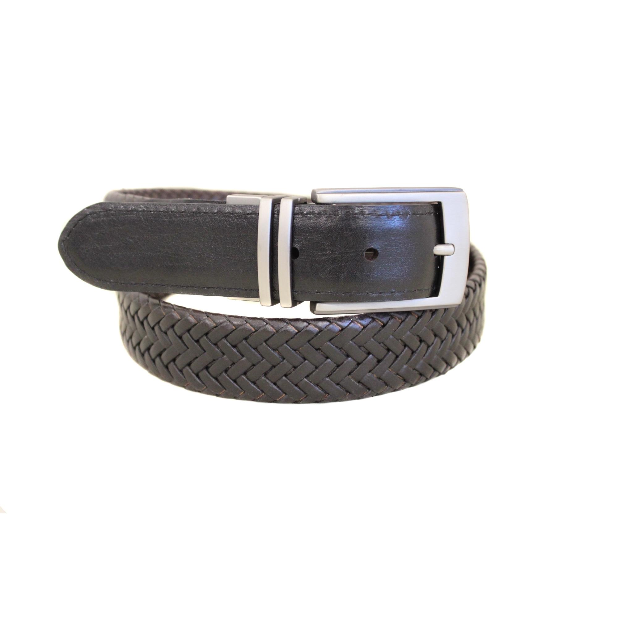 Entourage 'Good Vibe' Reversible Braided Leather Belt