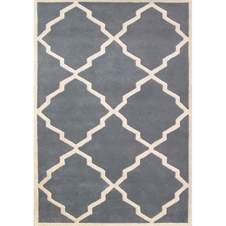Alliyah Handmade Bluish-Grey New Zealand Blend Wool Rug (4' x 6')
