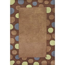 Hand-tufted Circles Brown Wool Rug (8' x 10')