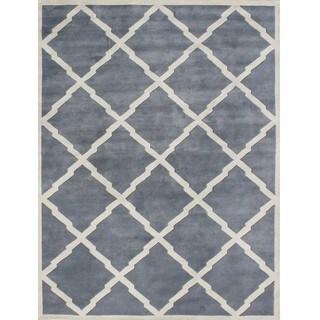 Alliyah Handmade Bluish-Grey New Zealand Blend Wool Rug (9' x 12')