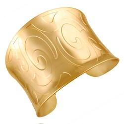 Mondevio 18k Gold over Stainless Steel Engraved Design Cuff Bracelet - Thumbnail 0