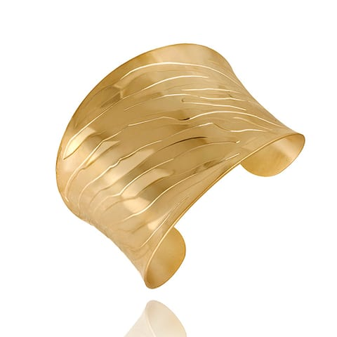 Mondevio 18k Gold over Stainless Steel Engraved Design Cuff Bracelet