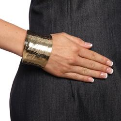 Mondevio 18k Gold over Stainless Steel Engraved Design Cuff Bracelet