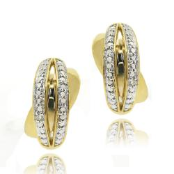 DB Designs 18k Gold over Sterling Silver Diamond Accent X Design Earrings