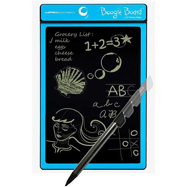improv electronics boogie board 8 5 lcd writing tablet The new boogie board 85 lcd writing tablet for binders clips easily into 2, 3 and 4 ring binders, making it ideal for student use the boogie board message center is an accessory that attaches to almost any flat surface and allows the original boogie board tablet to be slid in for stationary use and out to.