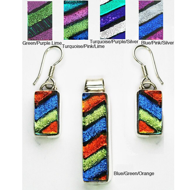 Handmade Sterling Silver Dichroic Glass Jewelry Set (Mexico)