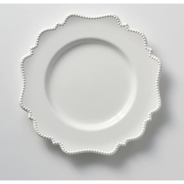 """Red Vanilla Pinpoint White Dinner Plate 11"""" (Set of 6)"""