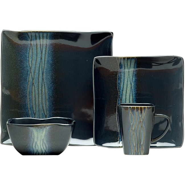 Red Vanilla Wavy Sky Blue 16-piece Dinnerware Set