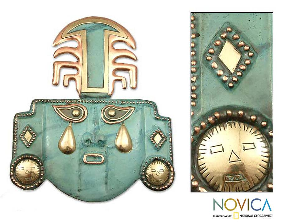 Handcrafted Copper 'Tears of a God' Mask (Peru)
