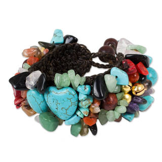 Handmade Brass 'Festive Heart' Multi-gemstone Beaded Bracelet (Thailand)