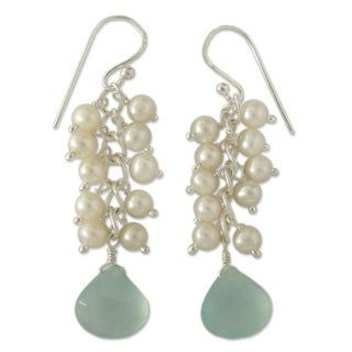 Link to Handmade Sterling Silver Aqua Light Chalcedony/ Pearl Earrings (India) Similar Items in Earrings