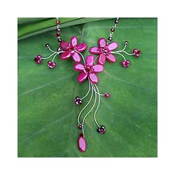 Stainless Steel 'Red Rosebud Burst' Multi-gemstone Necklace (Thailand)