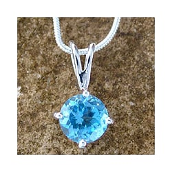 Handcrafted Sterling Silver 'Blue Lagoon' Blue Topaz Necklace (India)