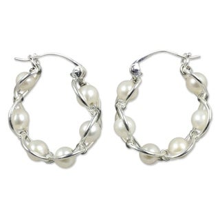Link to Handmade Sterling Silver Cloud Pearl Hoop Earrings  (Thailand) Similar Items in Earrings