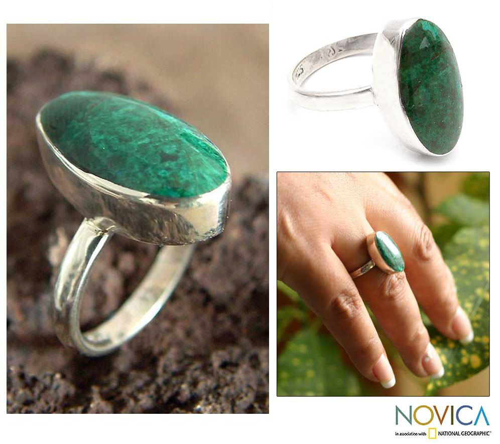 Handmade Sterling Silver 'Legacy' Chrysocolla Solitaire Ring (Peru)