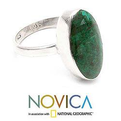 Handmade Sterling Silver 'Legacy' Chrysocolla Solitaire Ring (Peru) - Thumbnail 1