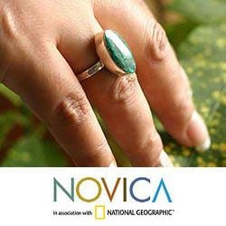 Handmade Sterling Silver 'Legacy' Chrysocolla Solitaire Ring (Peru) - Thumbnail 2