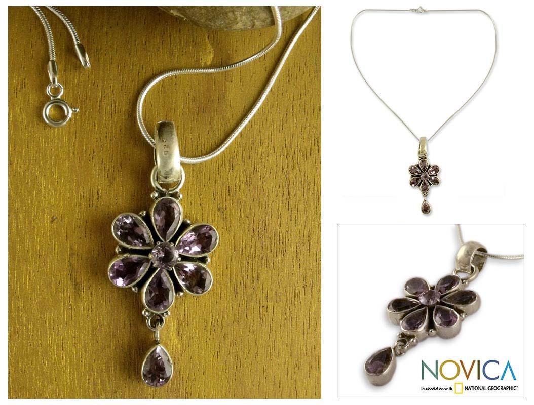 Sterling Silver 'Sparkling Violet' Amethyst Necklace (India)