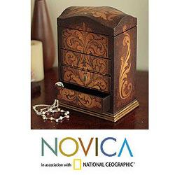 Handcrafted Cedar 'Love Blossom' Jewelry Box (Peru)