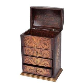 Handmade Cedar 'Love Blossom' Jewelry Box (Peru)