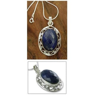 Handmade Sterling Silver Seductive Blue Snake Chain Lapis Lazuli Necklace (India)|https://ak1.ostkcdn.com/images/products/6072205/P13745181.jpg?impolicy=medium