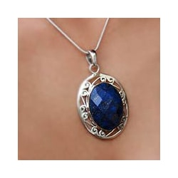 Handmade Sterling Silver Seductive Blue Snake Chain Lapis Lazuli Necklace (India)