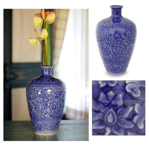 Handmade Celadon Ceramic 'Azure Lace' Vase (Thailand)