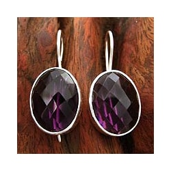 Handmade Sterling Silver 'Love Song' Amethyst Earrings (India)