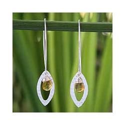 Handmade Sterling Silver 'Rose Petal' Citrine Floral Earrings (Thailand)