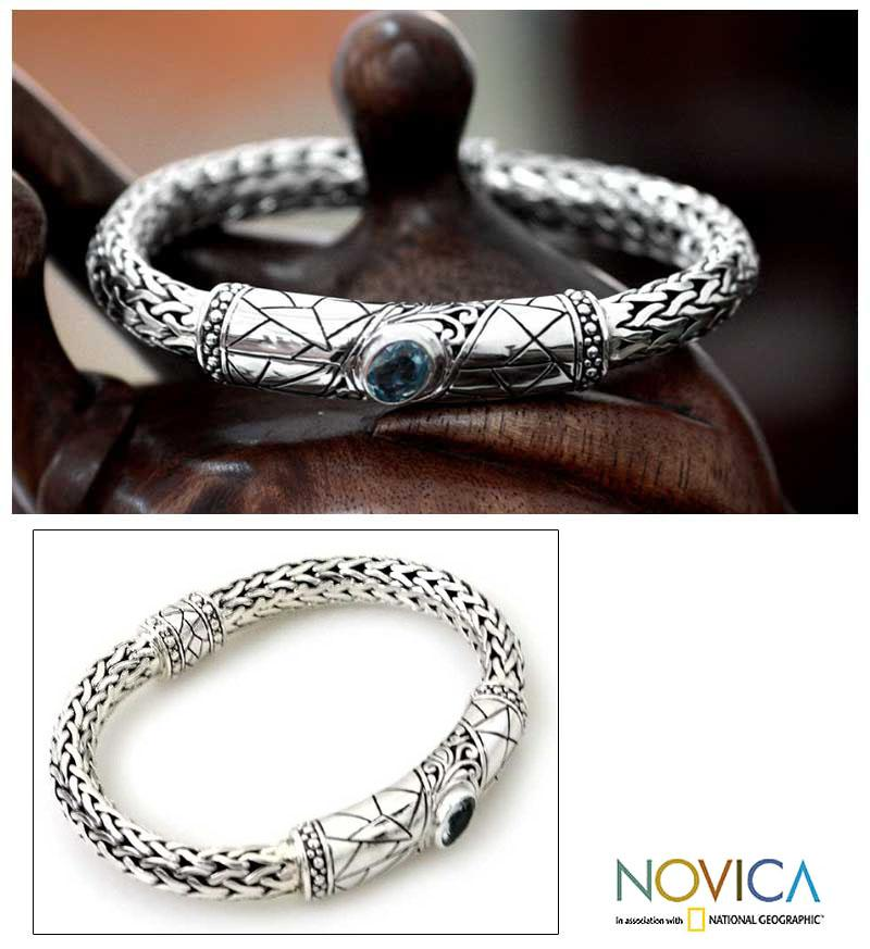 Men's Sterling Silver 'Meditate' Blue Topaz Bracelet (Indonesia)