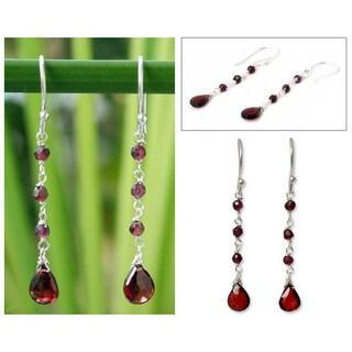 Handmade Sterling Silver 'Lady' Garnet Drop Earrings (Thailand)