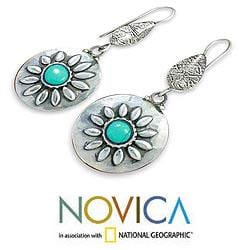 Sterling Silver 'Friendship Blooms' Magnesite Earrings (India)
